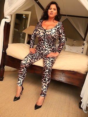 Rache Aldana Pretty in Leopard Skin Jump Suit