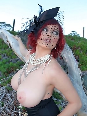 Tessa Fowler outdoor shoot in classic corset